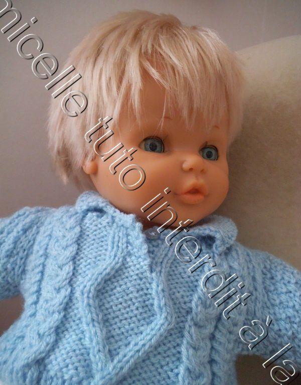 tuto gratuit poupée et layette  1 mois :  pull irlandais, à col polo,  dos entièrement boutonné