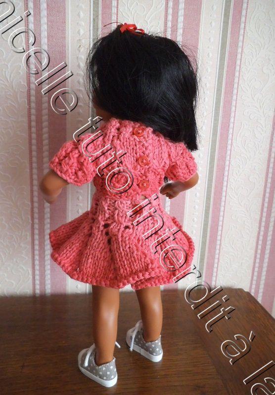 tuto gratuit poupée  : petit pull col cheminée  à mailles croisées
