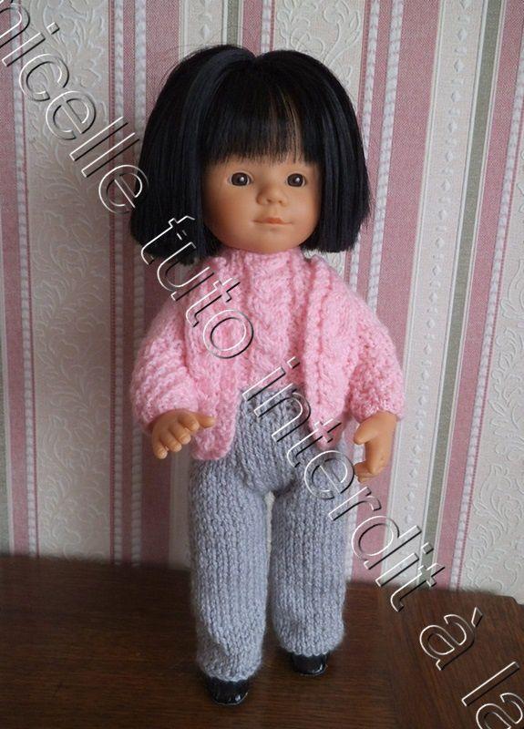 tuto gratuit poupée  : veste à tresse -   deuxième pièce du twin set