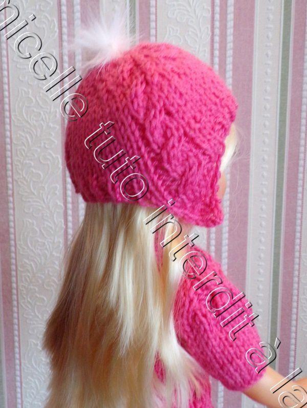tuto gratuit  poupée  : bonnet fantaisie au pompon laine fourrure