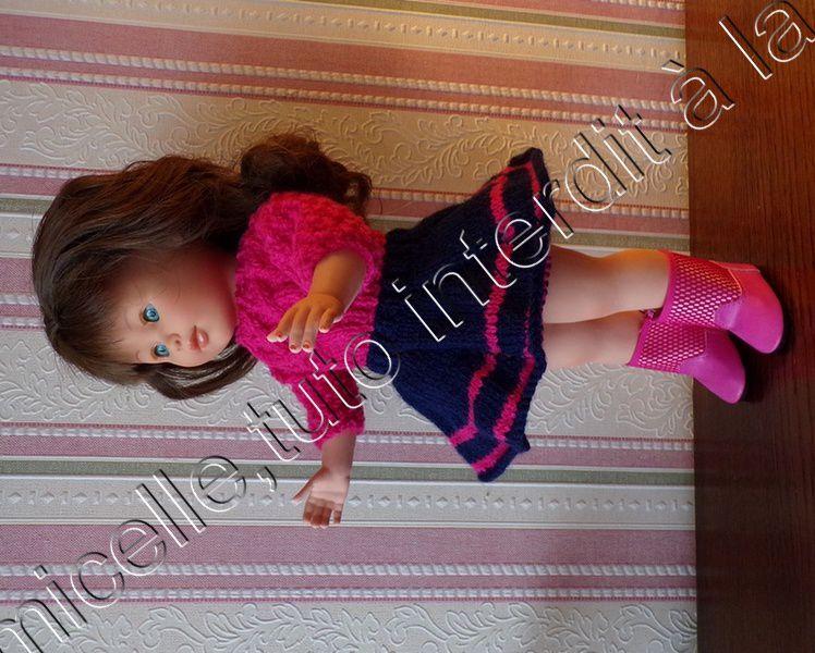 tuto gratuit  poupée  : jupe bicolore