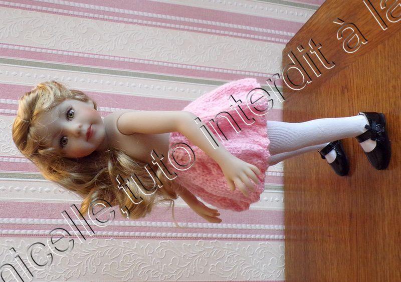 tuto gratuit poupée  : jupe torsadée dentelée