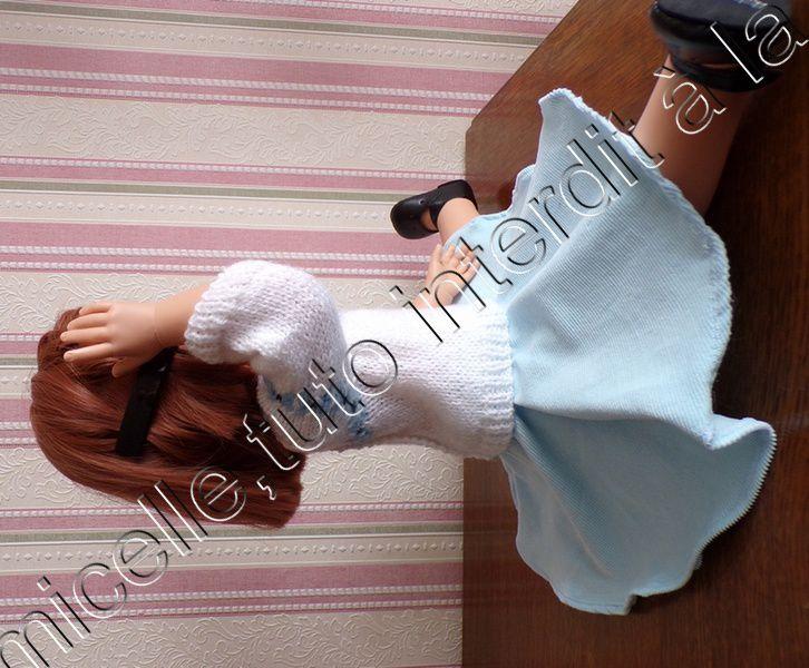 tuto gratuit  poupée  : pull printanier ; défi de Dane