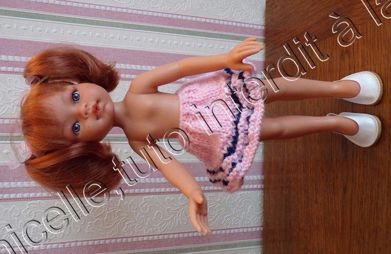 tuto gratuit poupée  : jupe  toute fraîche pour tricoteuses débutantes ; défi de Dane