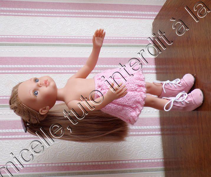 tuto  gratuit  poupée  : jupe  à côtes base dentelée