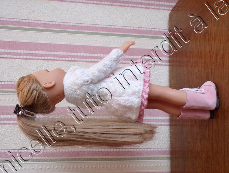 tuto gratuit poupée  :  manteau 3/4 printanier à tresses