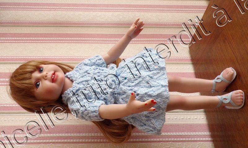 tuto gratuit  poupée  : robe deux en un ,jupe ajourée et pull  col Claudine