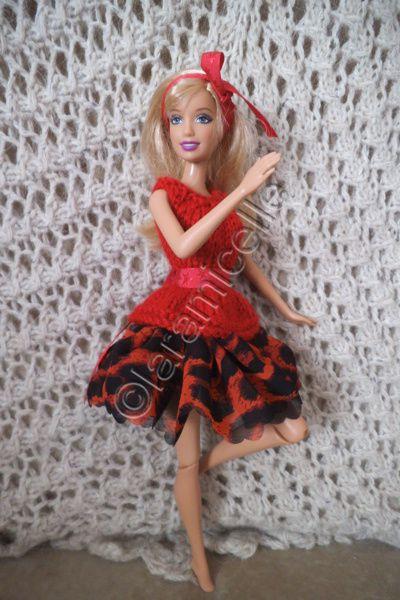 tuto gratuit barbie: robe aérienne laine et ruban