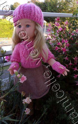 tuto gratuit  poupée : bonnet à mailles croisées