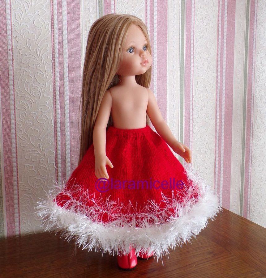 tuto gratuit poupée  : jupe ample pour NOËL ; pour tricoteuses débutantes