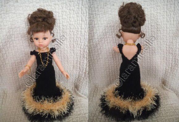 tuto gratuit paola reina: robe de soirée noire et or, dos  décolleté