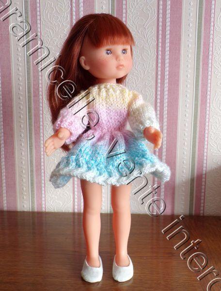 tuto gratuit poupée  : robe  arc en ciel à ronde de virgules
