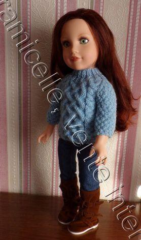 tuto gratuit poupée : pull irlandais à col cheminée