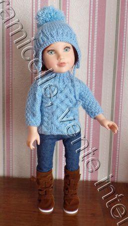 tuto gratuit  poupée  : bonnet à tresses, oreillettes  et  pompon