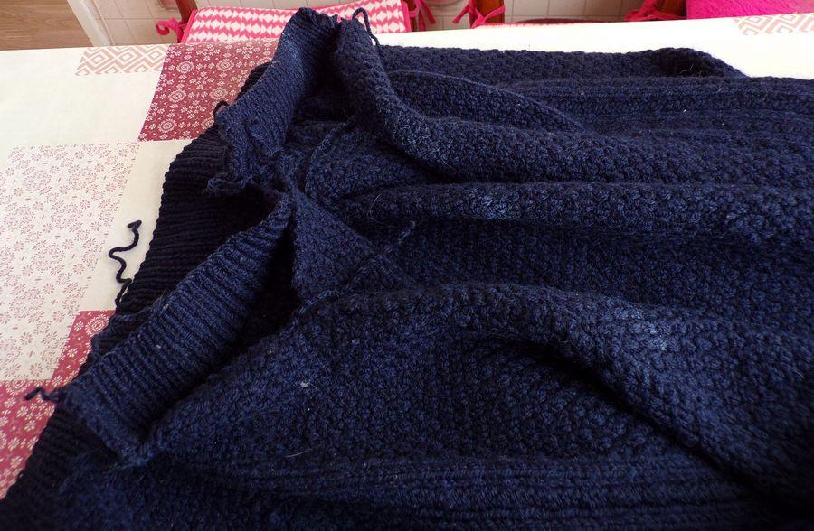 raccourcir  les manches d'un pull sans détricoter les côtes
