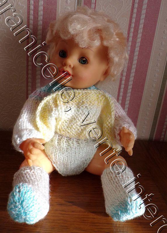 tutos gratuits poupée  : petite culotte et chaussons très faciles à  tricoter