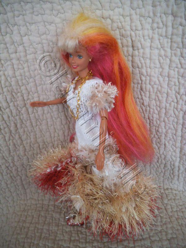 tuto gratuit barbie : robe froufrous retroussée