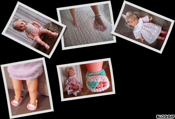 tutos gratuits poupées : divers modèles de sandales