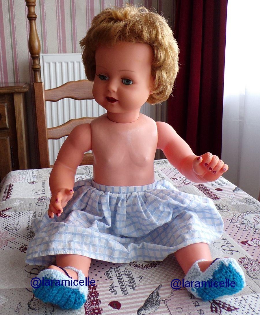 tuto gratuit poupée  : tongs  fantaisie