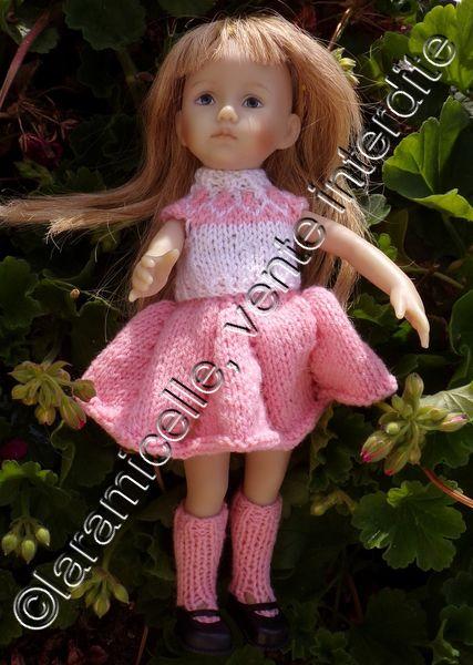 tuto gratuit poupée : pull jacquard sans manches et col cheminée