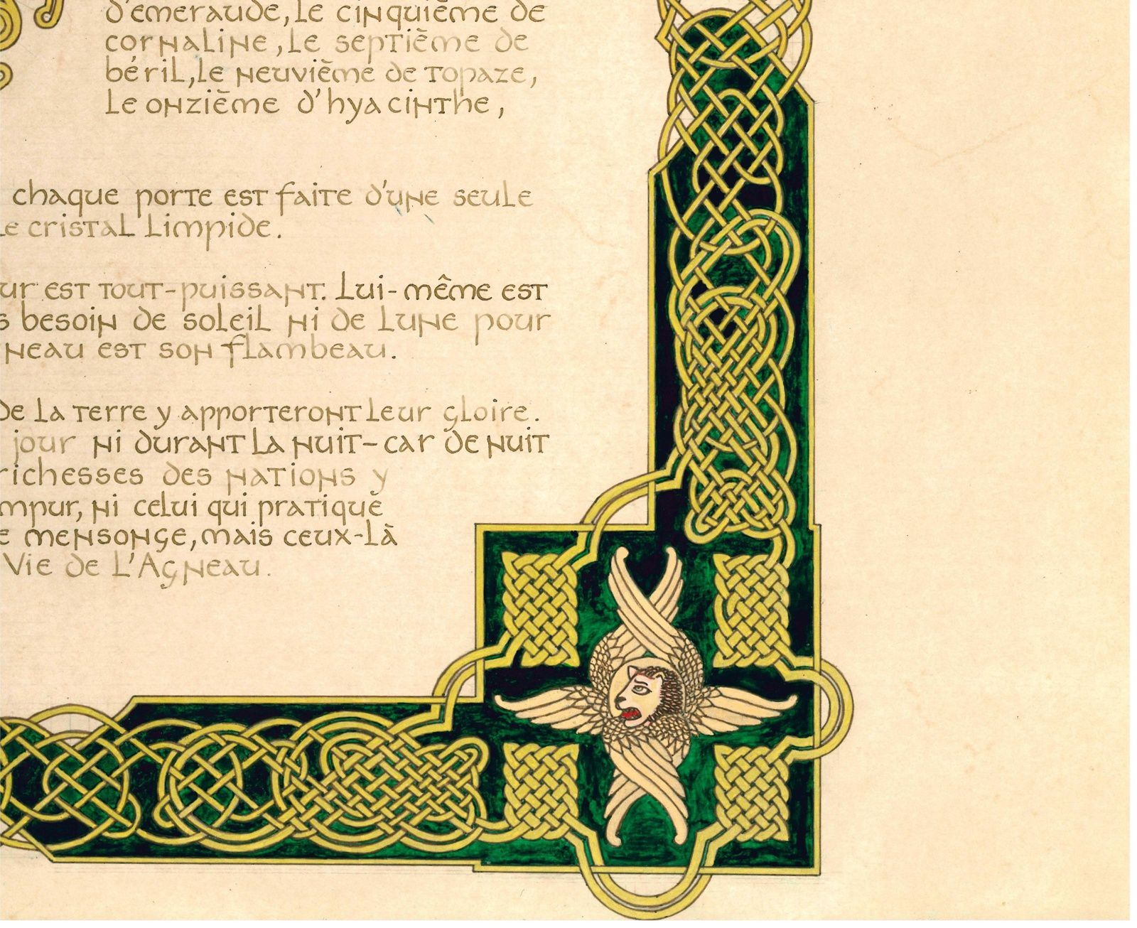 Calligraphie et enluminure d'un texte de l'Apocalypse