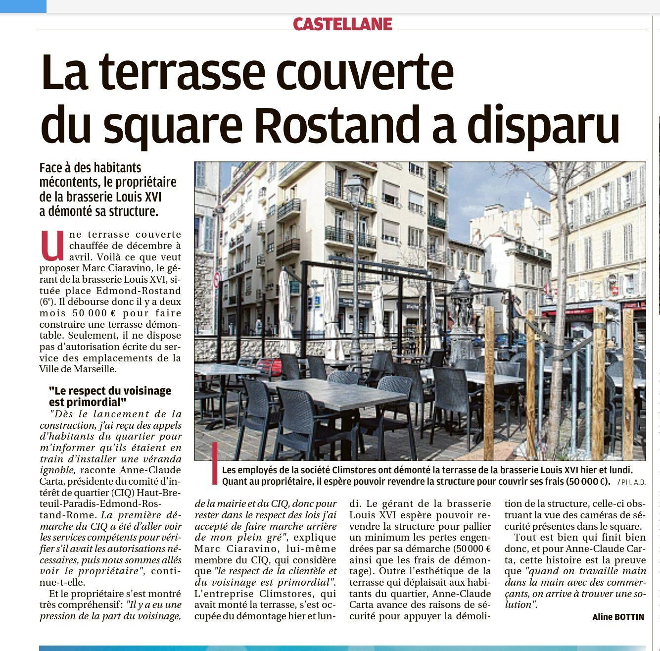 """Article de La Provence du 15 février 2017. """"Nous travaillons main dans la main avec les commerçants""""."""