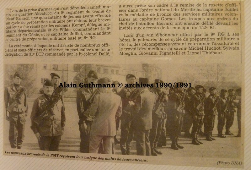Archives du 9ème RG -  quelques pages de l'album d'Alain Guthmann