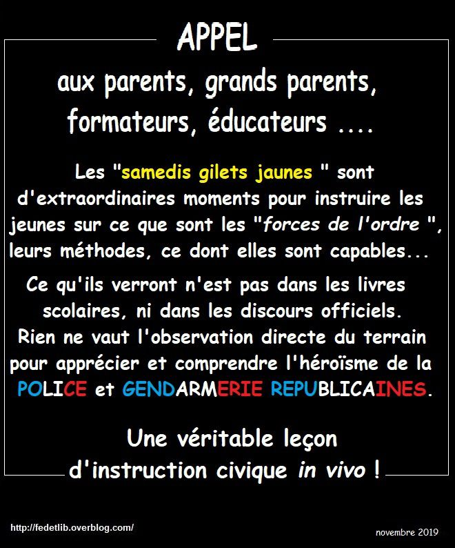 APPEL AUX PARENTS, GRANDS PARENTS, ÉDUCATEURS,.....