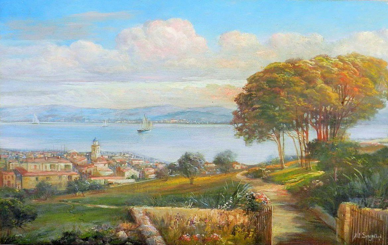 La voile Blanche , un autre St Tropez , le village et sa baie par Ad Simoneton , huile sur panneau dans les années 30 . Collection particulière .