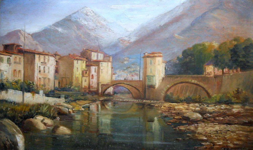 """SOSPEL et son célèbre """"pont vieux"""" à péage sur la bévéra , Alpes-Maritimes . Huile sur panneau 1937 d'Adrien Simoneton collection particulière ."""