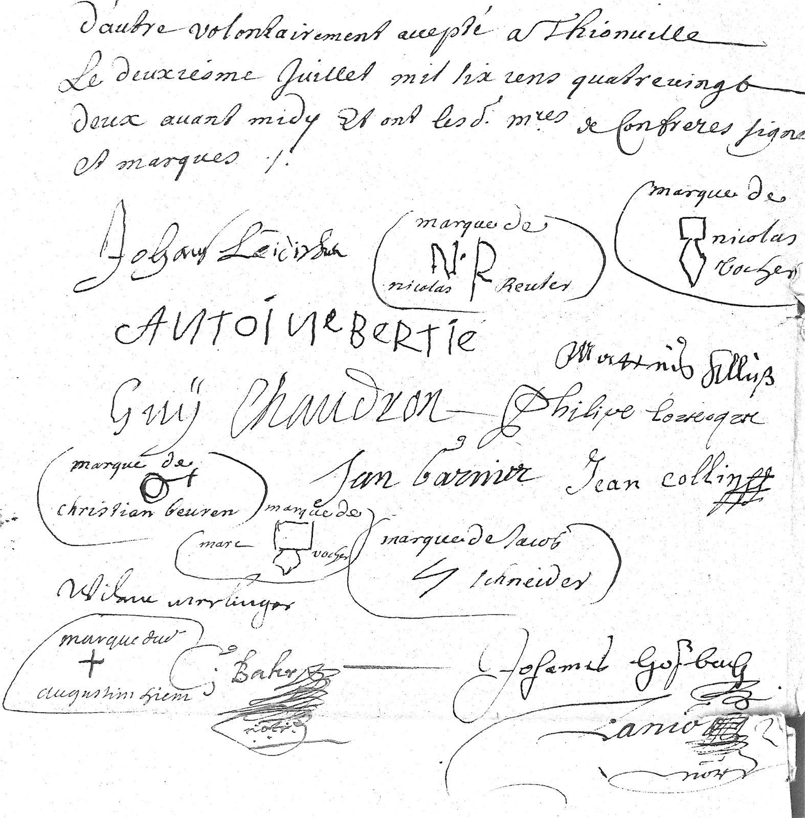 Les signatures et marques des confrères. ADM Lanio 3E7594/798