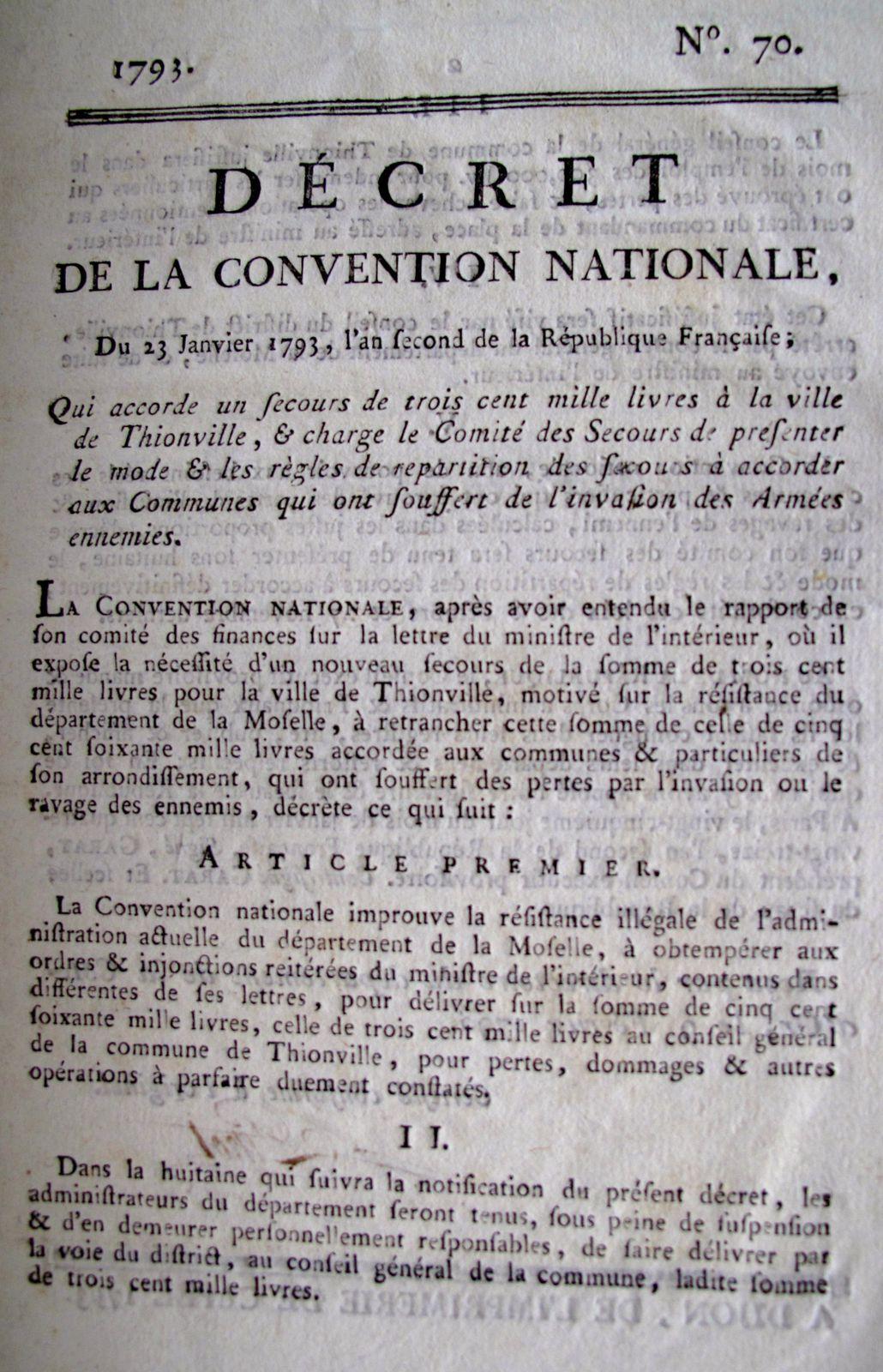 Copie du décret collection de Michel Persin