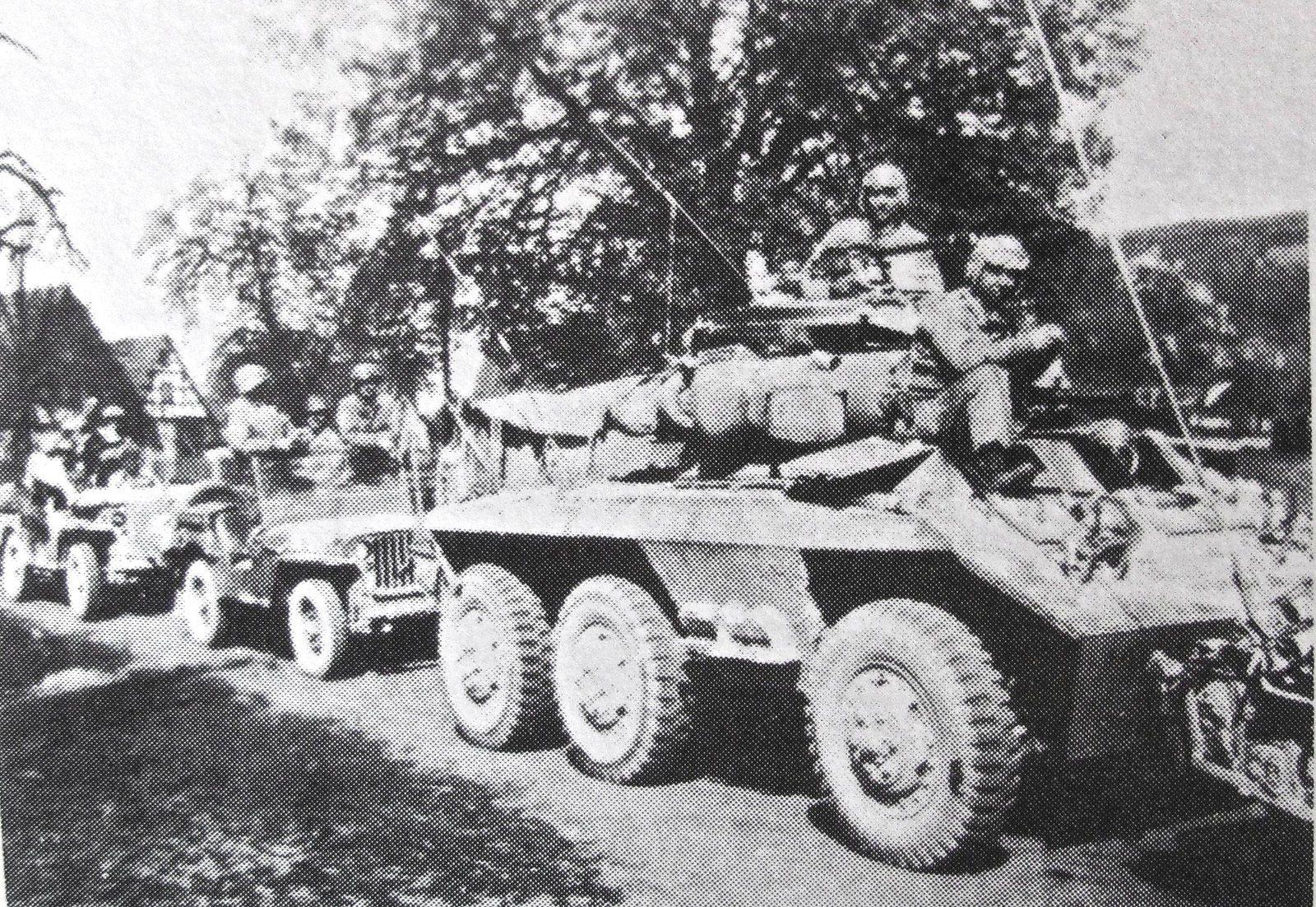 Automitrailleuse M8 et jeeps dans un convoi de reconnaissance identique à celui décrit ci-dessus.8