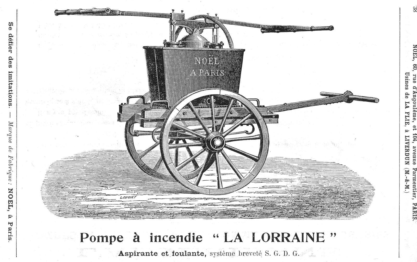 Cette grosse pompe à incendie pouvait envoyer 370 litres par minute à raison de 60 coups doubles des balanciers. Son prix était en 1902 d'environ 700 F .