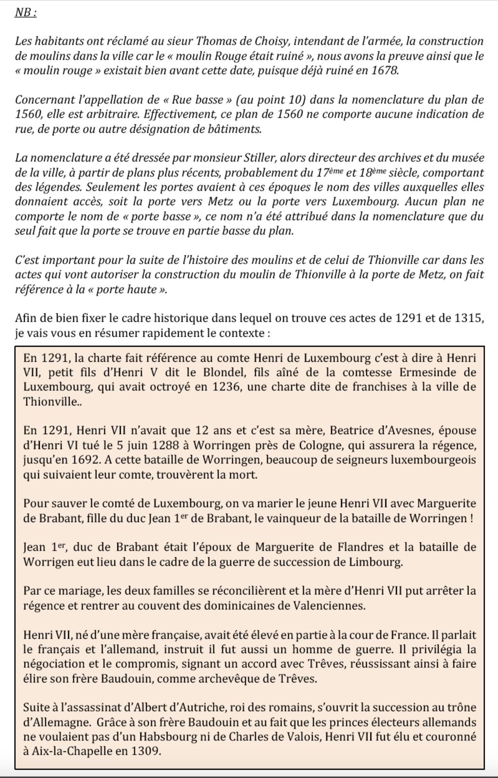1291-1315 * Vie et mort du moulin de Thionville (suite N°5)