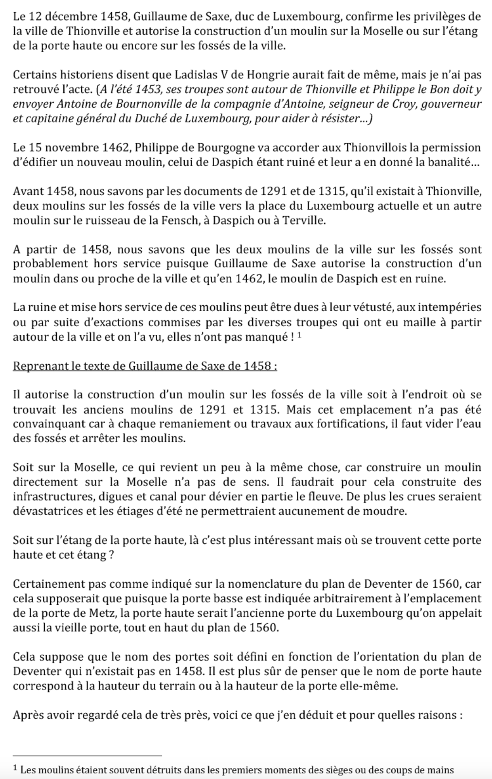 1458-2019 * Vie et mort du moulin de Thionville (suite N°6 - 15ème siècle)