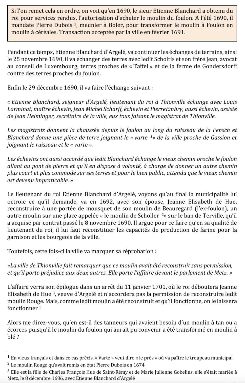 1458-2019 * Vie et mort du moulin de Thionville (suite N° 8 - 17 & 18ème siècle)