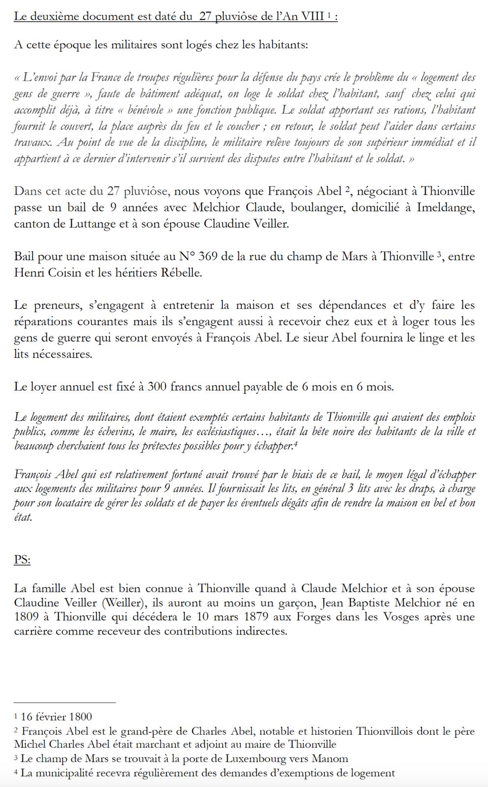 Thionville An VIII - Comment se soustraire légalement à ses obligations