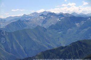 Vue vers le massif du Montcalm du col du Faustin (2651m)