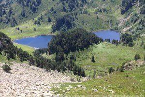Etang de Rabassoles vu du col de la Coumeille de l'Ours (2170m)
