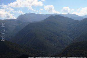 Massif des Trois Seigneurs vu de la piste forestière (1250m)