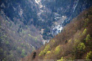 Cascade d'Ars vue du plateau de Souliou (1291m)