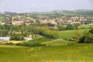 Lézat-sur-Lèze vue des moulins de la Garde