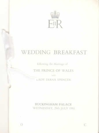 Menu du mariage du Prince Charles et de Lady Diana, 29 juillet 1981