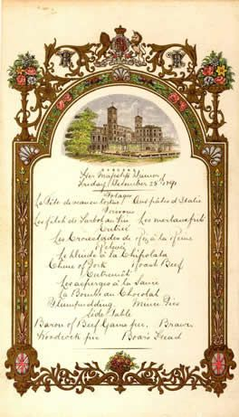 Menus royaux : Noël à la Cour d'Angleterre – Osborne 1891 (partie 13)