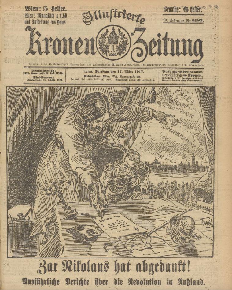 Le tsar a abdiqué ! Une du journal autrichien Kronen Zeitung. La caricature, qui suggère que le Tsar a subi d'importantes pressions pour abdiquer, correspond bien à la réalité des faits.