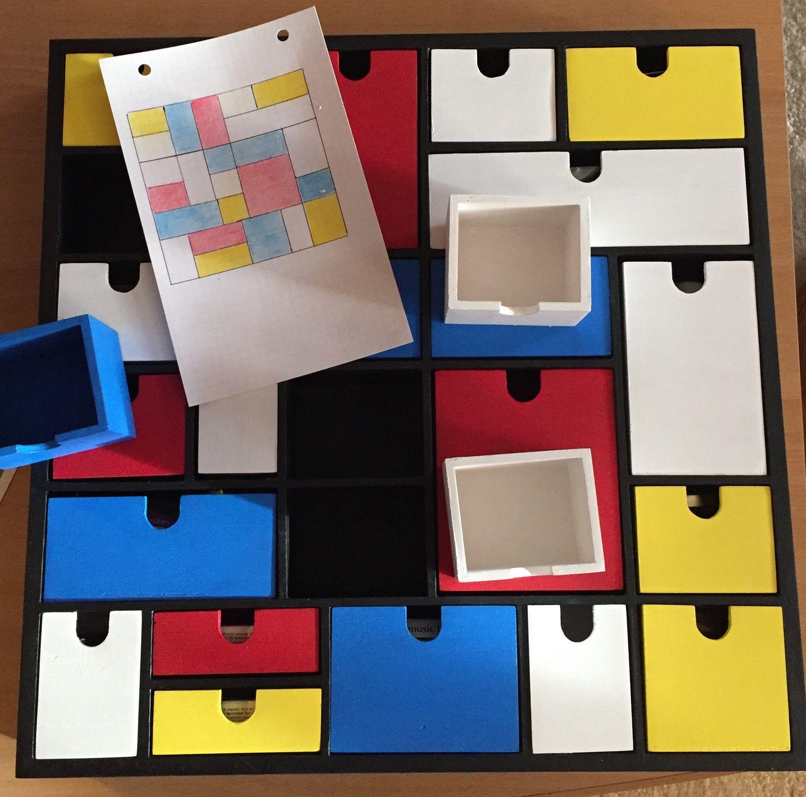 calendrier de l'avent, 24 casiers aux couleurs Mondrian