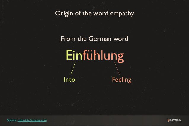 Image issue du site : https://www.slideshare.net/lindseynorman/taking-the-you-out-of-user-experience/46-lnorman16EinfhlungOrigin_of_the_word_empathyFrom