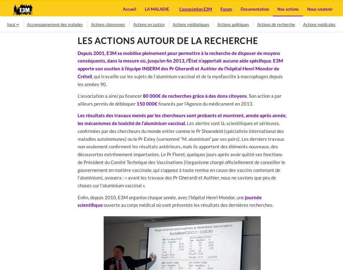 Capture d'écran du site de l'association E3M