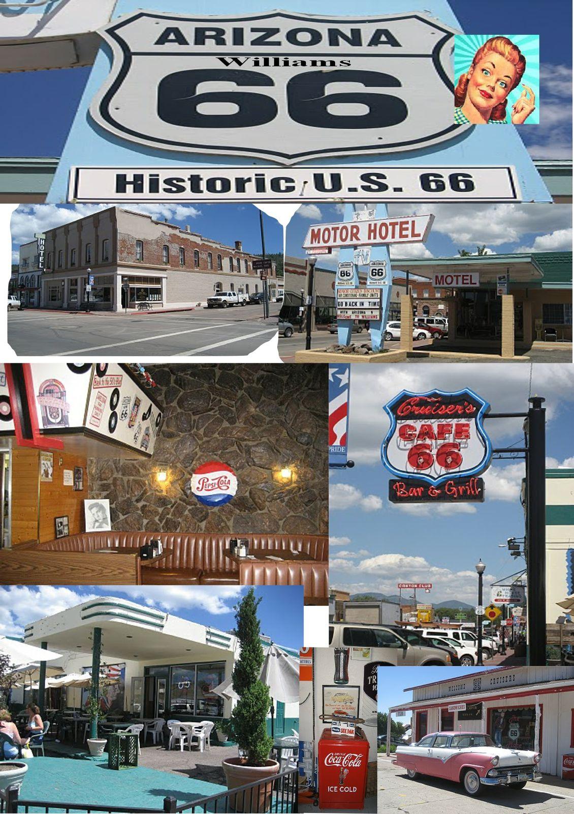 Comme figés à l'époque où les rutilantes automobiles défilaient encore sur la Route 66, les bâtiments de  Williams retrouvent une deuxième vie. Entre cowboys, magasins de souvenirs, musées autour de la 66,  bâtiments historiques et bières brassées sur place, il y a de quoi passer une très bonne soirée.   En été, chaque soir vers 18h00, des cowboys se défient sur la rue principale, au cours de burlesques « guns fights ». Pour les amoureux de l'ouest, Williams reste une halte incontournable.